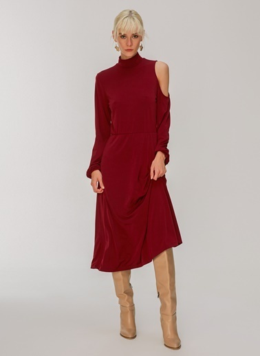 People By Fabrika Omuz Detaylı Elbise Bordo